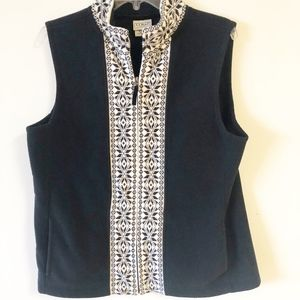 LL Bean Black and White Fleece Fair Isle Vest